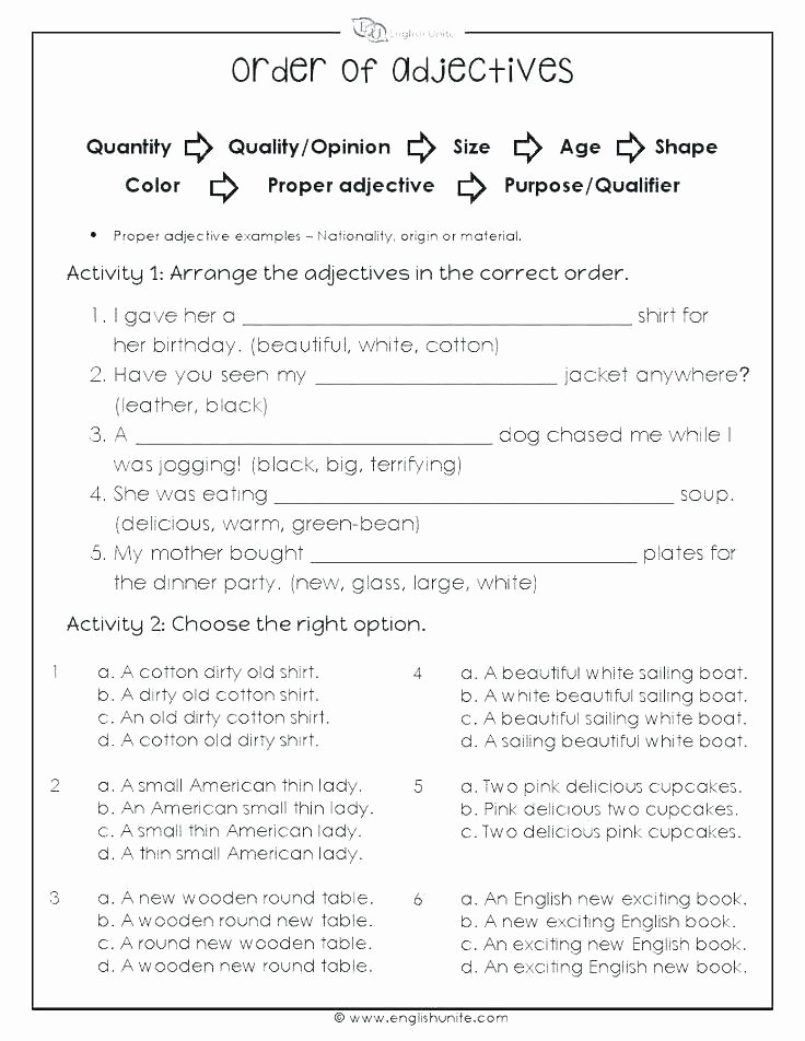 Adjectives Worksheets 3rd Grade English Adjectives Worksheets Esl Possessive Adjectives