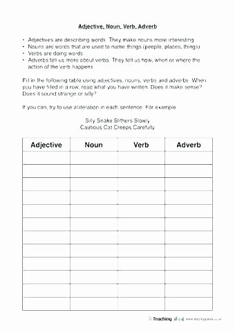 Adjectives Worksheets 3rd Grade Noun and Verb Worksheets Pdf List Words Noun Adjective