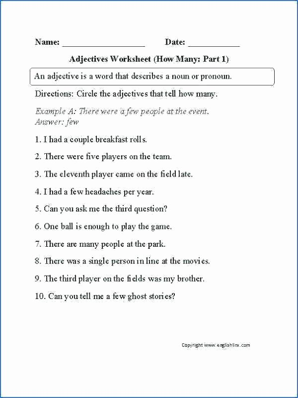 Adjectives Worksheets 3rd Grade Parts Of Speech Worksheets with Answers