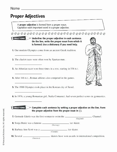 Adjectives Worksheets 3rd Grade Proper Adjectives Worksheet for Grade Lesson Planet