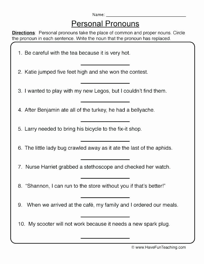 Adjectives Worksheets for Grade 1 Demonstrative Adjectives Worksheets Pronouns Printable Free