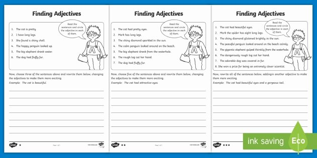 Adjectives Worksheets for Grade 1 Finding Adjectives Worksheet Worksheet Finding Verbs