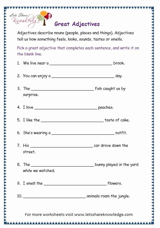 Adjectives Worksheets for Grade 1 Page 10 Adjectives Worksheet Teaching English