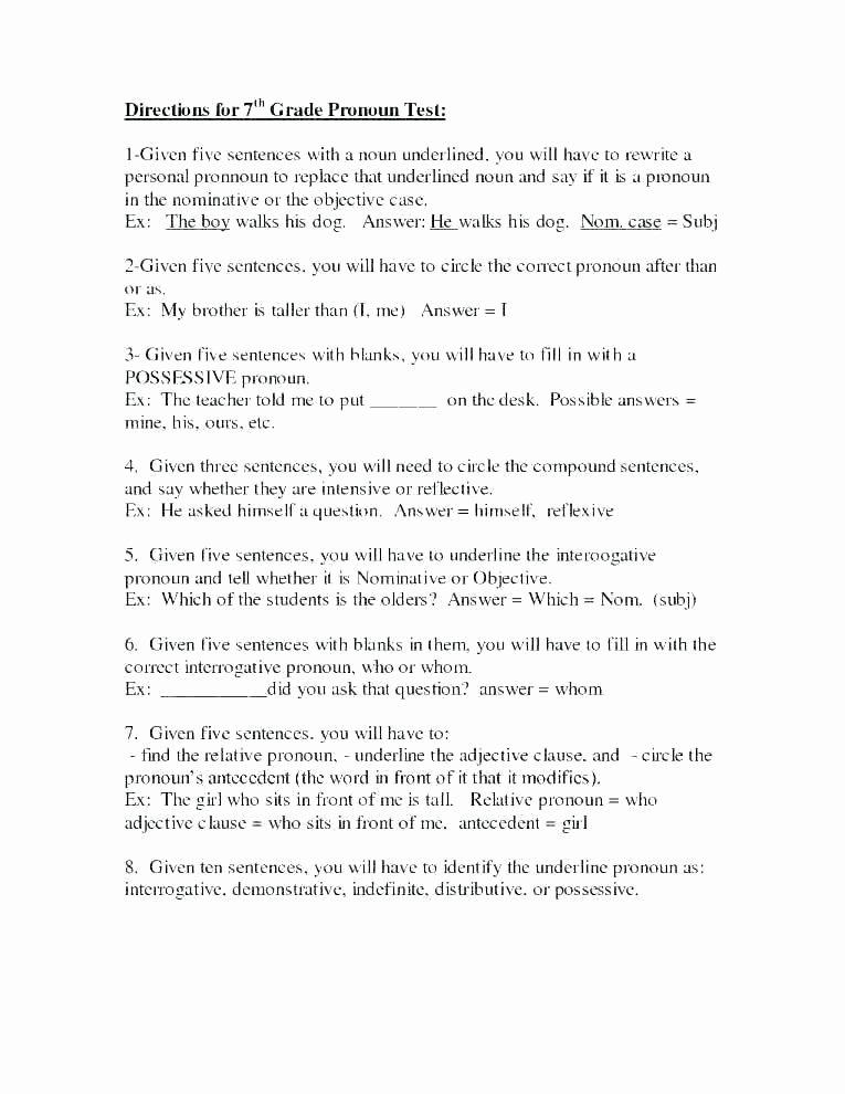 Adjectives Worksheets for Grade 1 Pronoun Worksheets for Grade 1