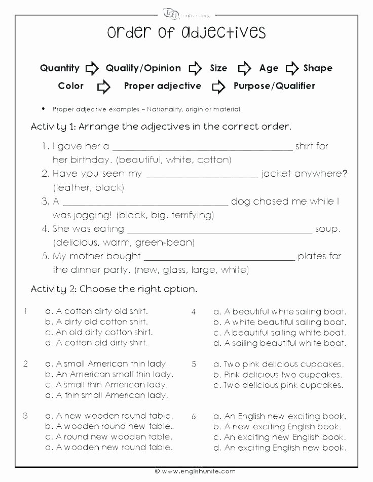 Adjectives Worksheets for Grade 2 Adjective and Rb Worksheets with Answer Key Along Sentences