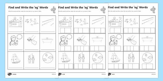 Ai Phonics Worksheet Find and Write the Ay Words Differentiated Worksheet