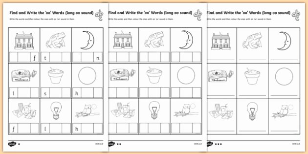Ai Words Worksheets Find and Write the Long Oo sound Words Differentiated