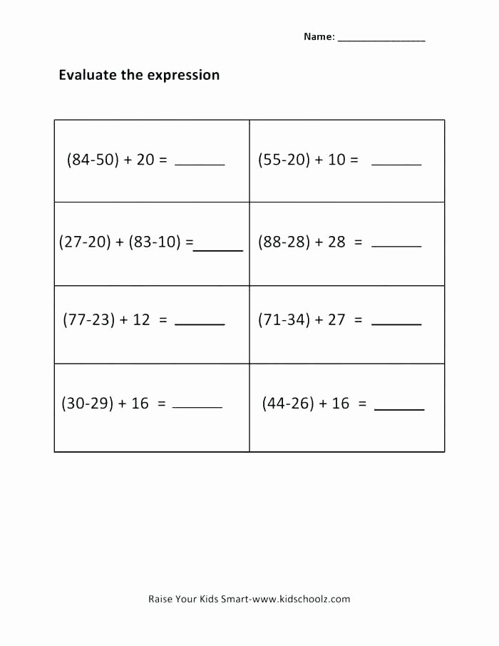 Algebra Tiles Worksheets 6th Grade Algebraic Expressions for 6th Grade Worksheets