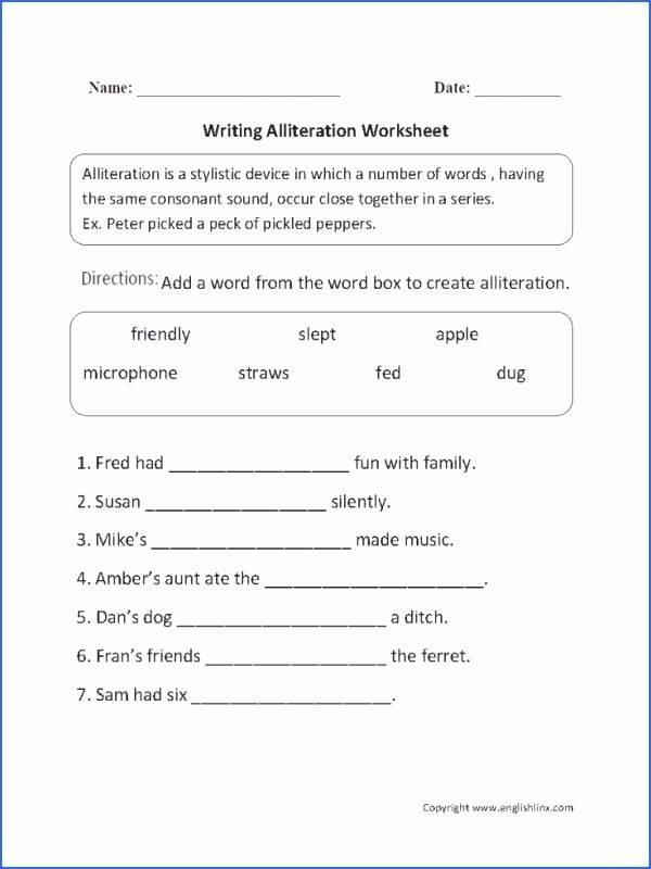 Alliteration Worksheets 4th Grade Alliteration Poetry Worksheet Printable Worksheets and