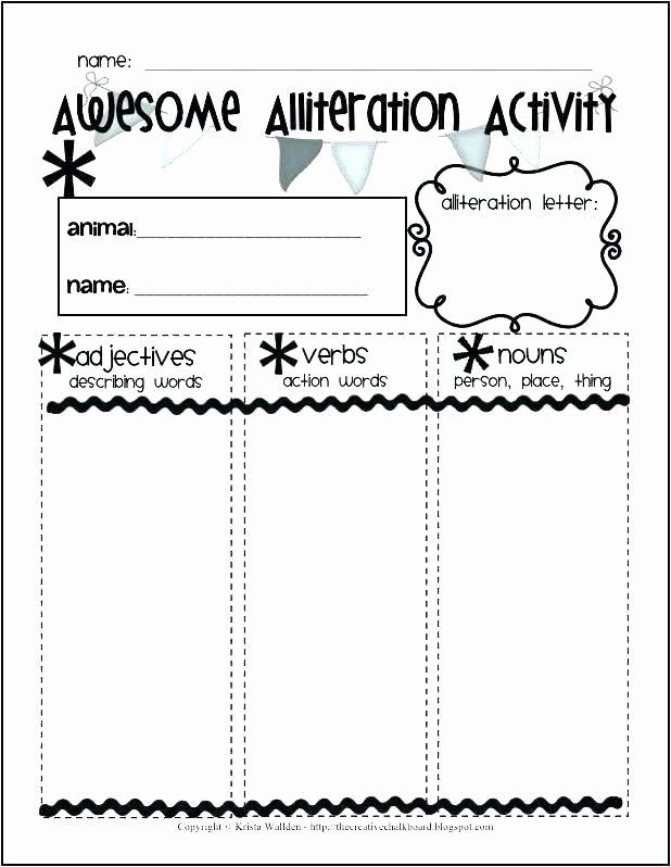 Alliteration Worksheets 4th Grade St Grade Kids Alliteration Worksheets Examples