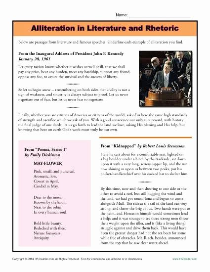Alliteration Worksheets for Middle School Alliteration In Literature and Rhetoric