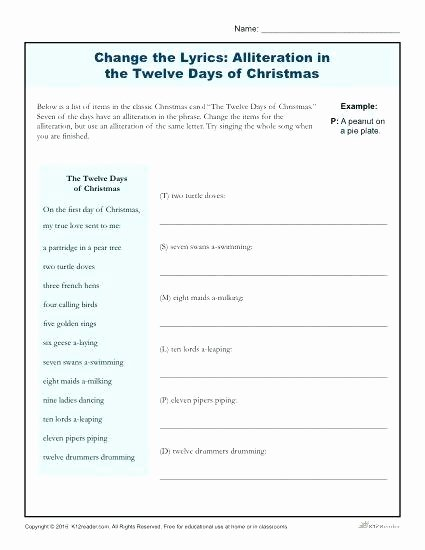 the twelve days of printable grade alliteration change lyrics in lesson plan high school worksheets