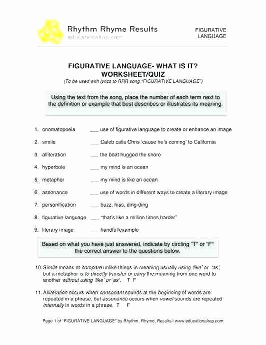 Alliteration Worksheets with Answers Figurative Language Worksheets 6th Grade Arts