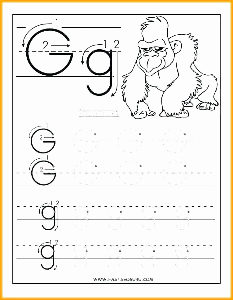 Alphabet Trace Worksheet Free Letter G Worksheets for Kindergarten Printable D
