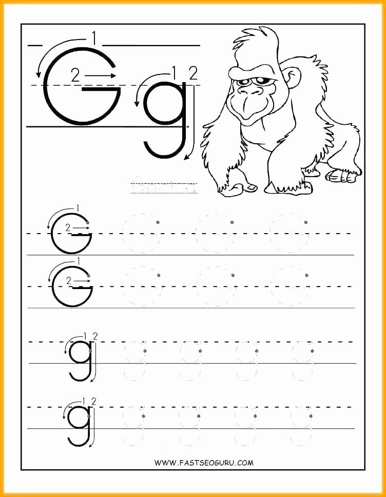 Alphabet Trace Worksheet Free Letter G Worksheets for Kindergarten Printable D