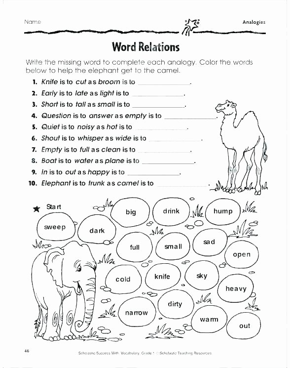 Analogy Worksheets for Middle School New Analogy Worksheets for Middle School Printables