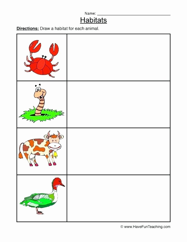Animal and their Habitats Worksheets Animals In their Habitats Worksheet Science Year 1