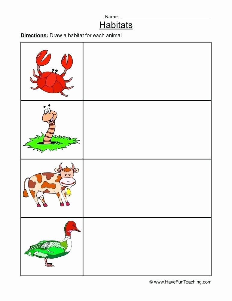 Animal Habitat Worksheets for Kindergarten Resources Science Environments Worksheets Animal Habitats
