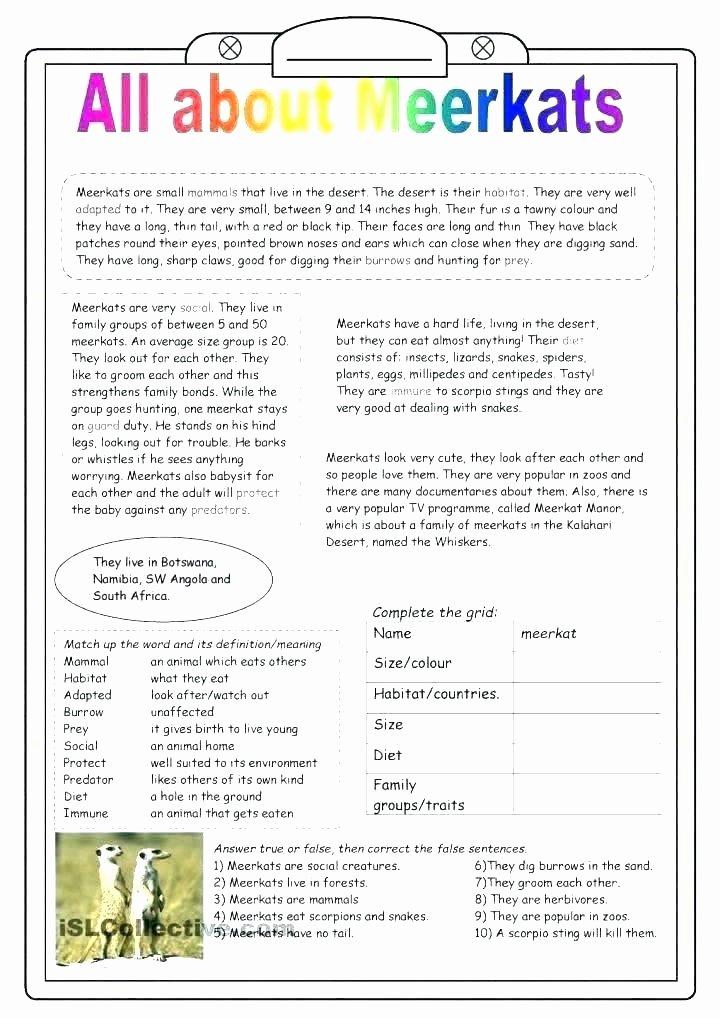 Animals and their Habitats Worksheets Habitats Reading Prehension Worksheets