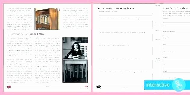 Anne Frank Worksheets Middle School Anne Frank Worksheets Printable Free Worksheet