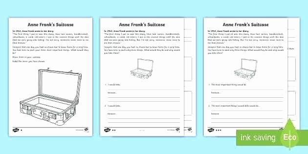 Anne Frank Worksheets Middle School Frank Diary Anne Frank Worksheet Answers