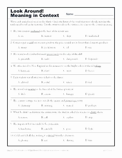 Antonyms Worksheets 3rd Grade Context Clues Worksheets Third Grade