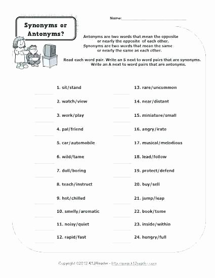 Antonyms Worksheets 3rd Grade Homonyms Worksheets for Third Grade Synonym Antonym Homonym