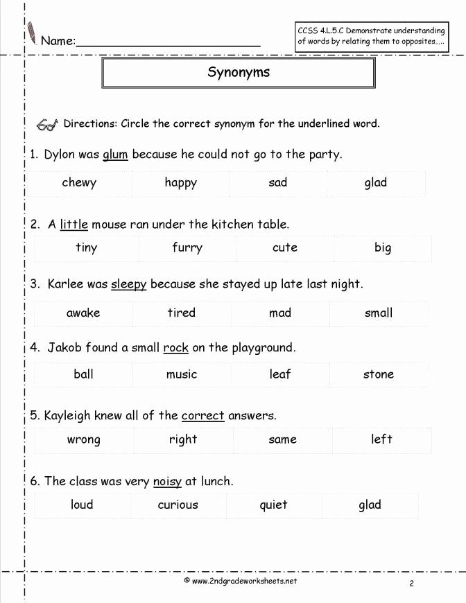 Antonyms Worksheets 3rd Grade Synonym for Go by