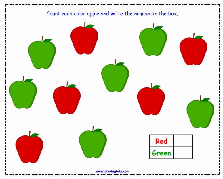 Apple Worksheets Preschool Worksheet Keywords Playingtots Playing tots Playing tots tot