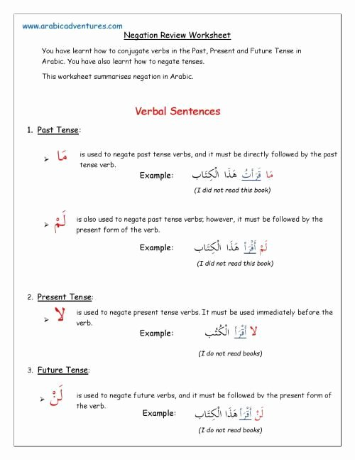 Arabic Letters Worksheets Negation Review Worksheet Page 001 Arabic