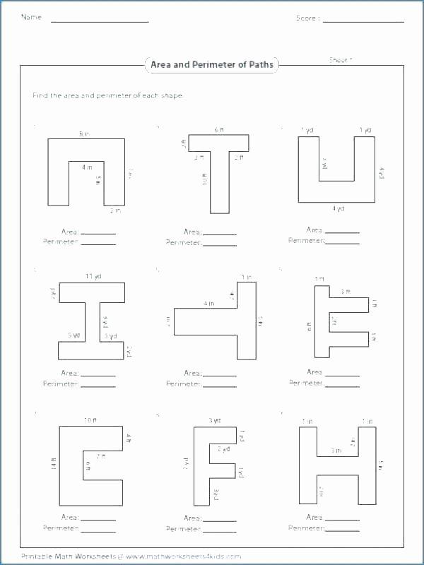 Area Irregular Shapes Worksheet area and Perimeter Worksheets Grade Irregular A