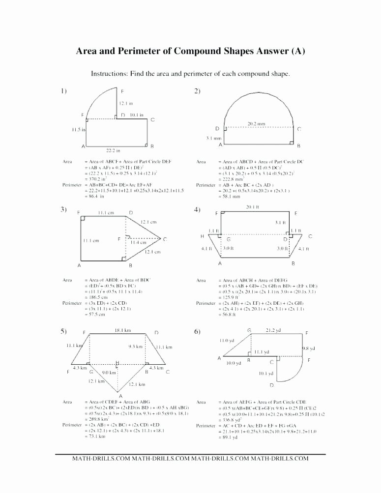 Area Of Compound Shapes Worksheet area Worksheets 7th Grade