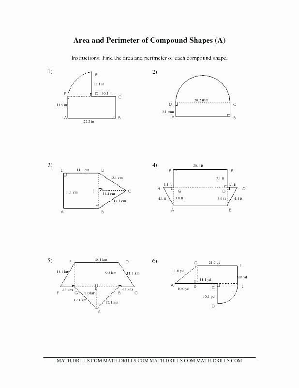 Area Of Compound Shapes Worksheet Posite Shapes First Grade Worksheets