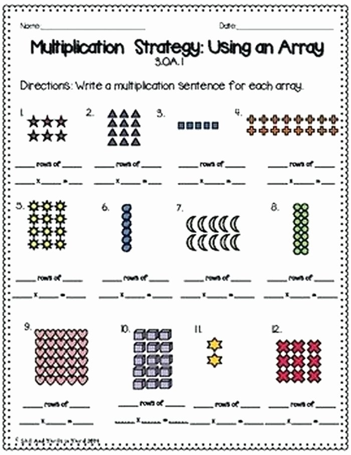 Array Math Worksheets Array Worksheets 3rd Grade