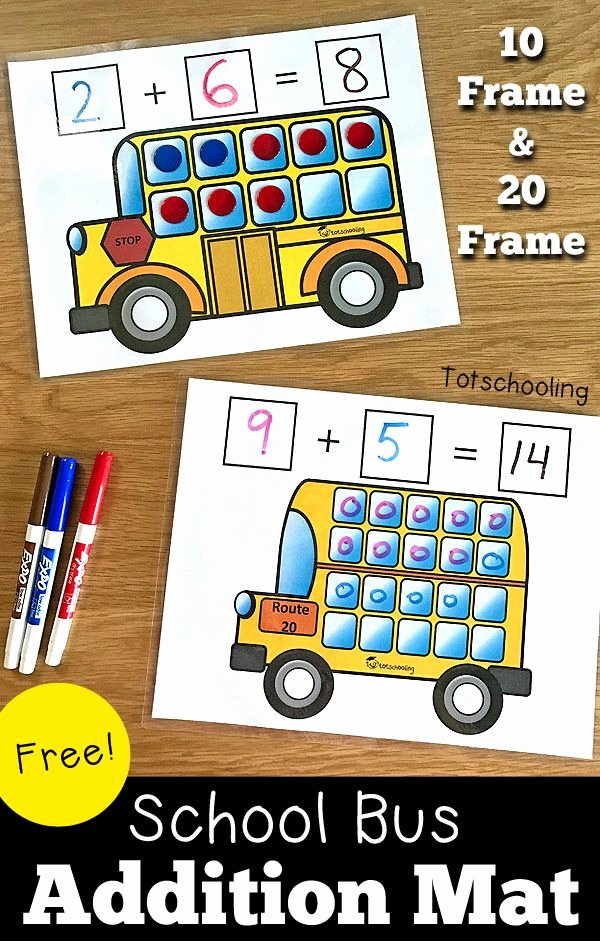 Automotive Math Worksheets Luxury School Bus Addition Mats Zap Zap Kindergarten Math Review