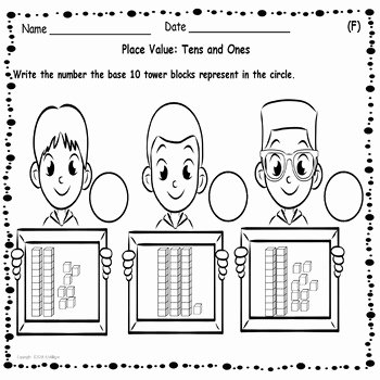 Base Ten Model Worksheets Place Value Tens and Es Worksheets and Cut Paste Activities