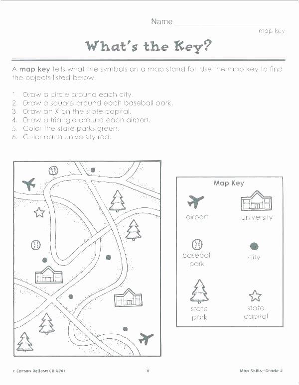 Basic Map Skills Worksheets Map Skills Worksheets Grade Free Elementary Printable for