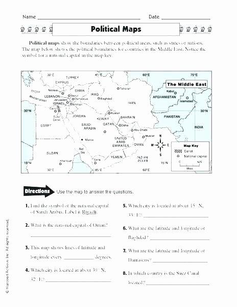 Basic Map Skills Worksheets Map Skills Worksheets Physical for Grade Printable 4th
