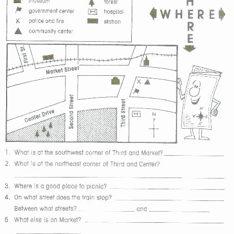 Basic Map Skills Worksheets Map Worksheets for 4th Grade