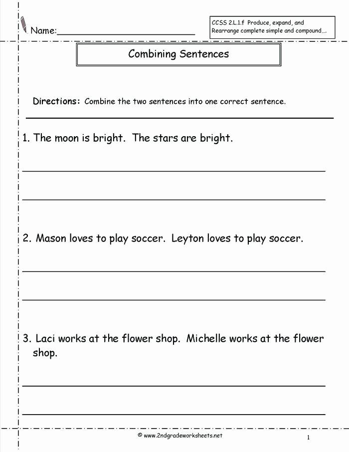 Basic Sentence Worksheets Number Sentence Worksheets 2nd Grade