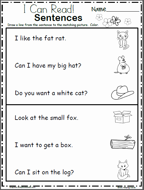 Basic Sentence Worksheets Read and Match the Sentences Beginning Readers