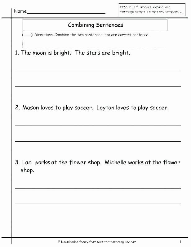 Basic Sentence Worksheets Simple Sentence Worksheets for Grade 1 Writing Number