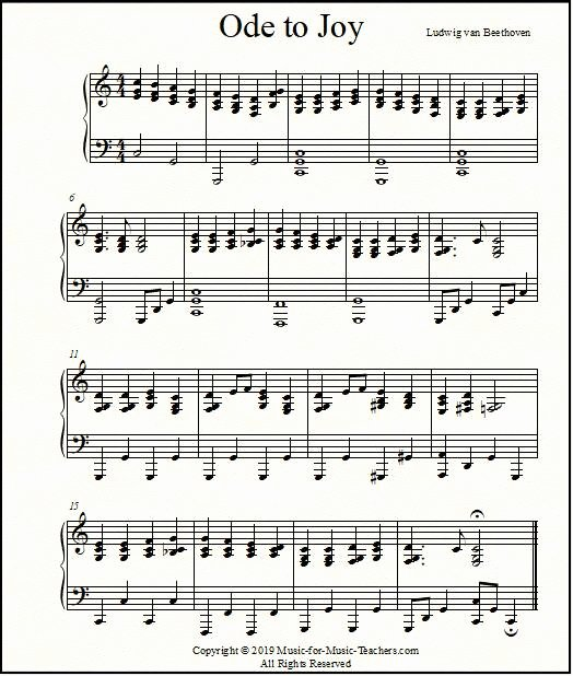 Beginner Piano Lesson Worksheets Ode to Joy Sheet Music for Piano Easy Beginner to Advanced