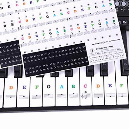 Beginner Piano Lesson Worksheets Piano Stickers for Keys Ladash 2 Sheets Transparent Removable Piano Keyboard Letters Key Labels for 49 61 76 88 Keyboards No Trace after Sticking
