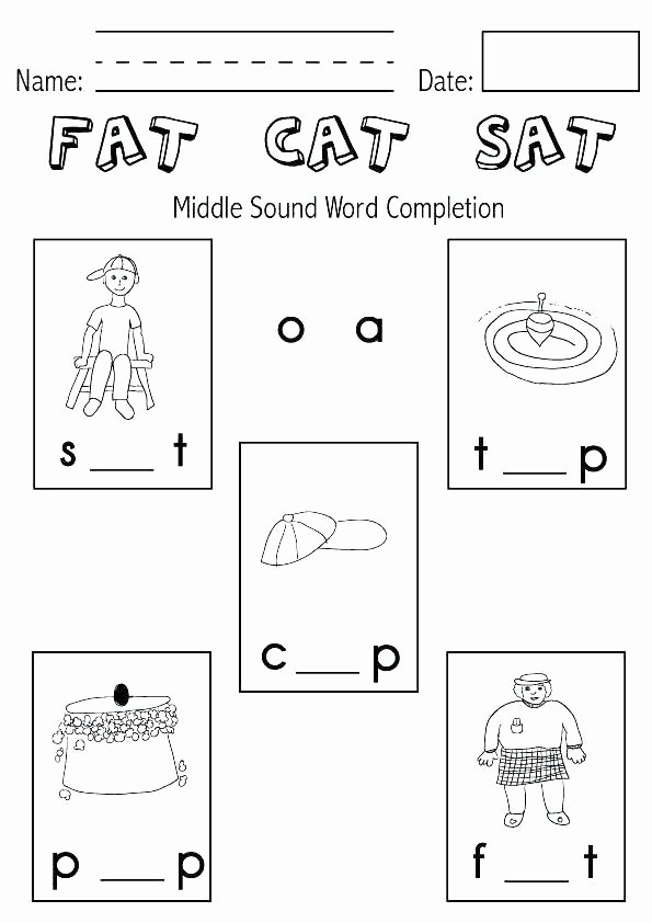 Beginning and Ending sound Worksheets Medial sound Worksheets for Kindergarten Ending sounds
