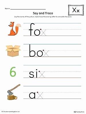Beginning and Ending sounds Worksheet Ending Letter sounds Worksheets Say and Trace X sound Words