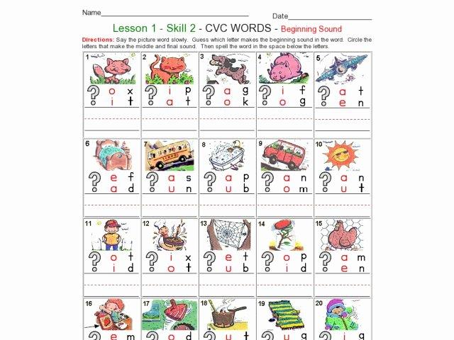 Beginning and Ending sounds Worksheet Lesson 1 Skill 2 Cvc Words Beginning sound Worksheet