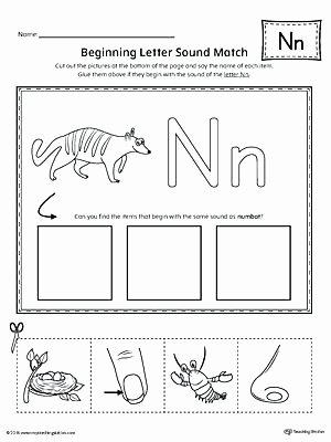 Beginning and Ending sounds Worksheet Letter N Beginning sound Picture Match Worksheet E