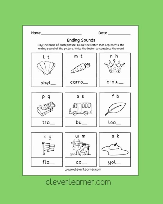 Beginning and Ending sounds Worksheet Pin by Clever Learner On Letter sounds