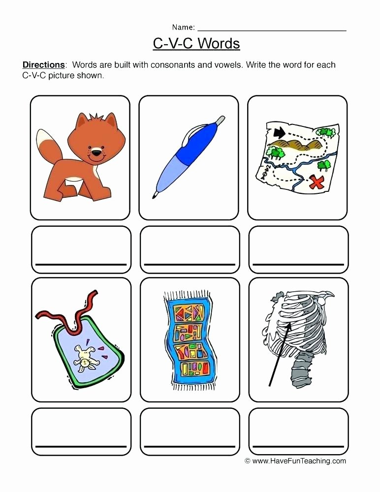 Beginning and Ending sounds Worksheets Free Printable Cvc Worksheets Worksheet 4 Write the Words